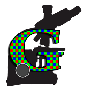 Logo of my site, microscope with bayer pattern